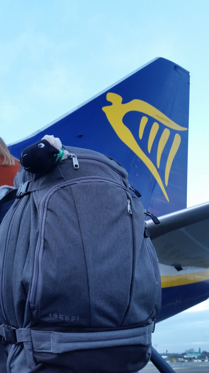 Seamus boards the Ryanair plane with us - onward to London!